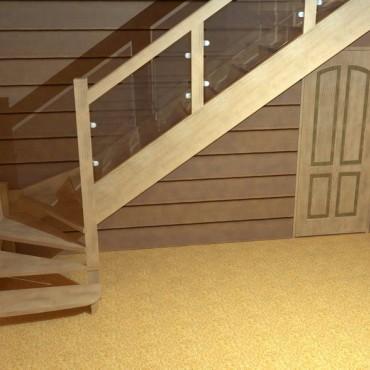 """Лестница """"Модерн"""" Г-образная, с забежными ступенями"""